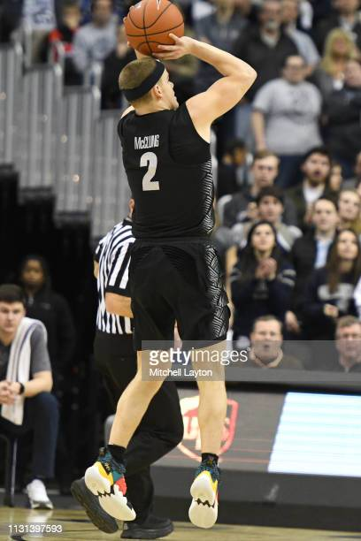 Mac McClung of the Georgetown Hoyas takes a jump shot during a college basketball game against the Villanova Wildcats at the Capital One Arena on...