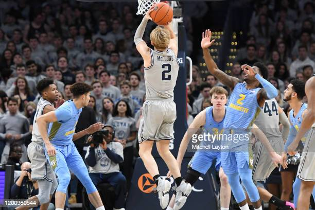 Mac McClung of the Georgetown Hoyas takes a jump shot during a college basketball game against the Marquette Golden Eagles at the Capital One Arena...