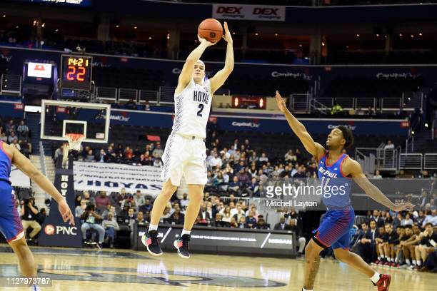Mac McClung of the Georgetown Hoyas takes jump shot in the first half during a college basketball game against the DePaul Blue Demons at the Capital...