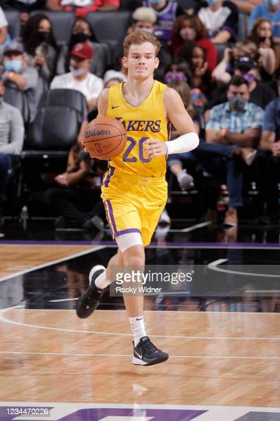 Mac McClung of the Los Angeles Lakers dribbles the ball against the Sacramento Kings during the 2021 California Classic Summer League on August 4,...