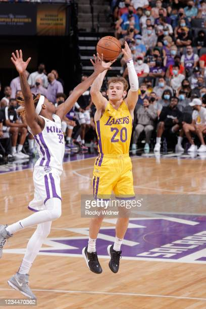 Mac McClung of the Los Angeles Lakers shoots the ball against the Sacramento Kings during the 2021 California Classic Summer League on August 4, 2021...