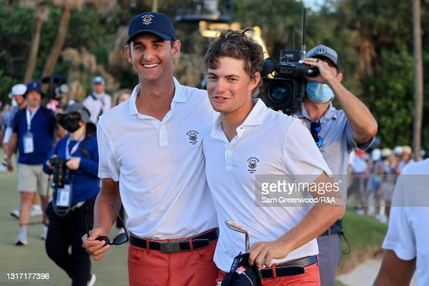 Mac Meissner and Tyler Strafaci of Team USA celebrate during Sunday singles matches on Day Two of The Walker Cup at Seminole Golf Club on May 09,...