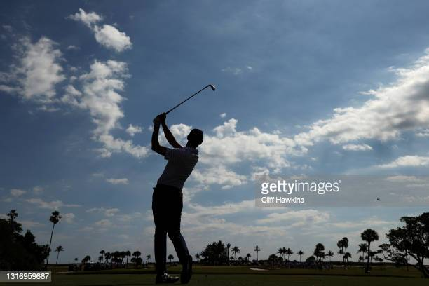 Mac Meissner of Team USA plays his shot on the seventh hole during Day One of The Walker Cup at Seminole Golf Club on May 08, 2021 in Juno Beach,...