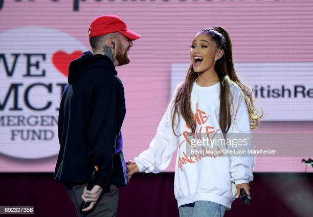 Mac Miller and Ariana Grande perform on stage during the One Love Manchester Benefit Concert at Old Trafford Cricket Ground on June 4, 2017 in...