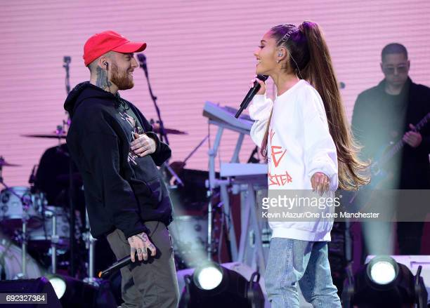 Mac Miller and Ariana Grande perform on stage during the One Love Manchester Benefit Concert at Old Trafford Cricket Ground on June 4 2017 in...