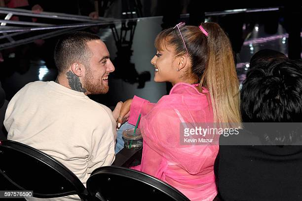 Mac Miller and Ariana Grande share a moment in the audience during the 2016 MTV Video Music Awards at Madison Square Garden on August 28, 2016 in New...
