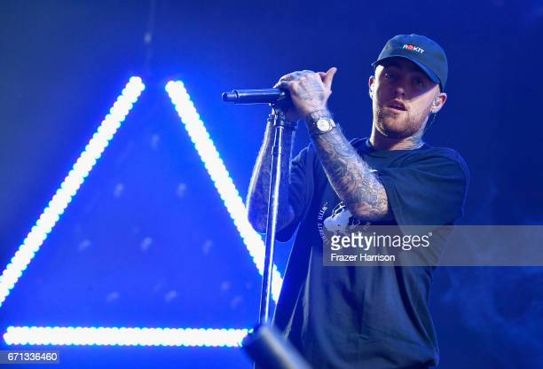 Mac Miller performs at the Sahara Tent during day 1 of the 2017 Coachella Valley Music Arts Festival at the Empire Polo Club on April 21 2017 in...