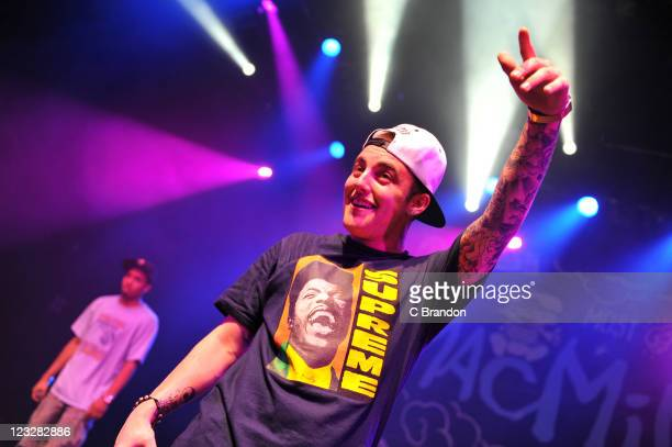 Mac Miller performs on stage at Shepherds Bush Empire on September 1, 2011 in London, United Kingdom.