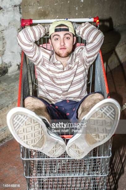 Mac Miller poses during photo session backstage at Casino de Paris on May 30, 2012 in Paris, France.