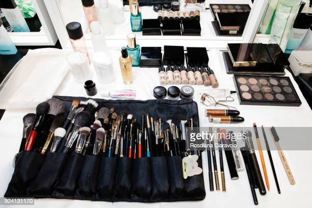 Mac products are displayed ahead backstage ahead of the Philosophy Di Lorenzo Serafini show during Milan Fashion Week Fall/Winter 2018/19 on February...