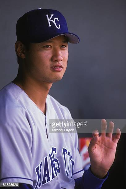 Mac Suzuki of the Kansas City Royals before a baseball game against the Baltimore Orioles on August 20 2000 at Camden Yards in Baltimore Maryland