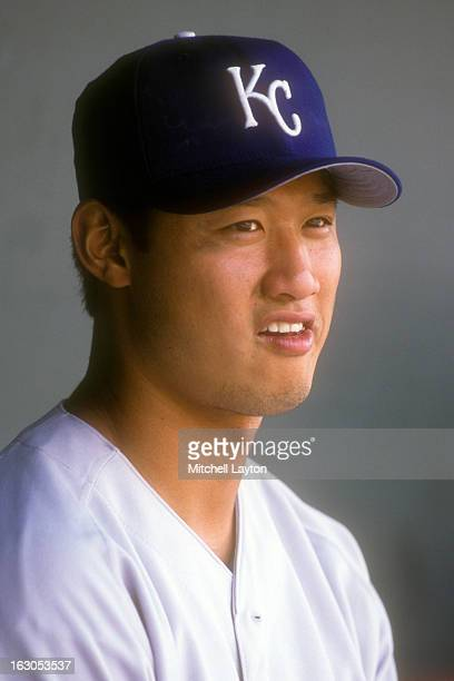 Mac Suzuki of the Kansas City Royals looks on before a baseball game against the Baltimore Orioles on August 20 2000 at Camden Yards in Baltimore...