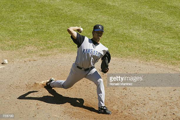 Mac Suzuki of the Kansas City Royals pitches the ball during the game against the Texas Rangers at The Ballpark in Arlington Texas on June 2 2002 The...