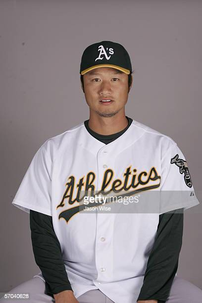 Mac Suzuki of the Oakland Athletics during photo day at Phoenix Stadium on February 27 2006 in Phoenix Arizona