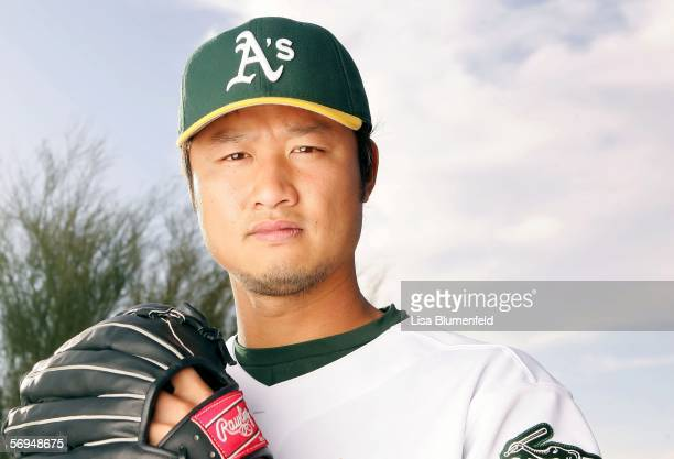 Mac Suzuki of the Oakland Athletics poses for a portrait during the Oakland Athletics Photo Day at Papago Park on February 27 2006 in Phoenix Arizona