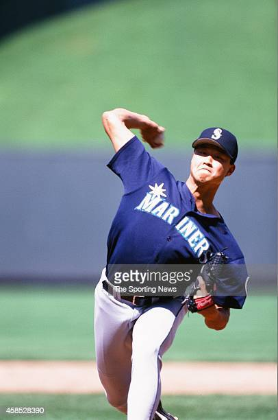 Mac Suzuki of the Seattle Mariners pitches against the Kansas City Royals at Kauffman Stadium on May 23 1999 in Kansas City Missouri