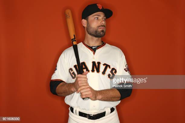 Mac Williamson of the San Francisco Giants poses on photo day during MLB Spring Training at Scottsdale Stadium on February 20 2018 in Scottsdale...