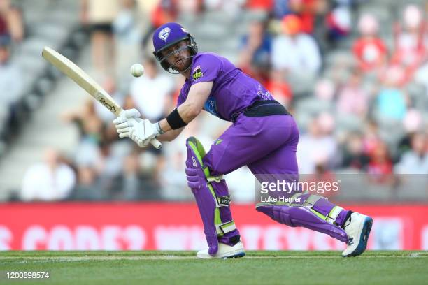 Mac Wright of the Hurricanes plays a shot during the Big Bash League match between the Melbourne Renegades and the Hobart Hurricanes at Marvel...