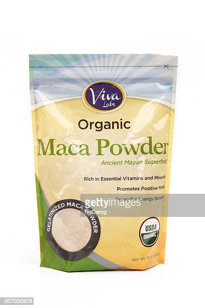 maca powder superfood package on white background - maca plant stock photos and pictures