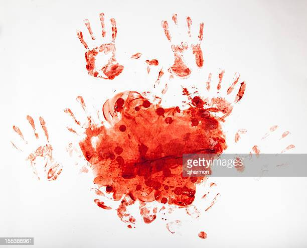 macabro sangue fingerpainting, bloody mãos 3 - assassinato - fotografias e filmes do acervo