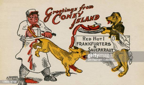 A macabre cartoon features a chef cutting a dog's tail off to sell as a frankfurter circa 1911