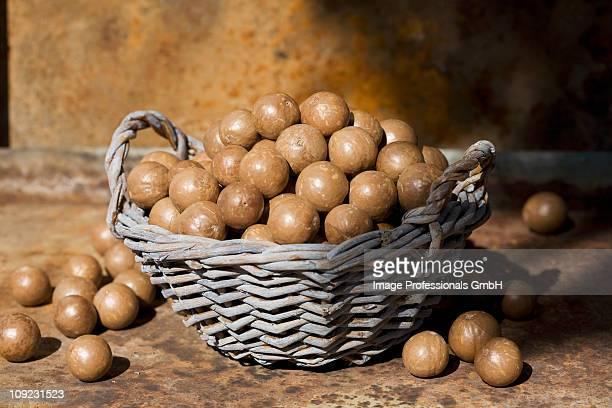 Macadamia nuts in wicker basket