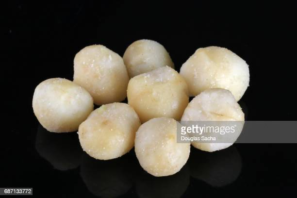 Macadamia nuts on a black background (Proteaceae)