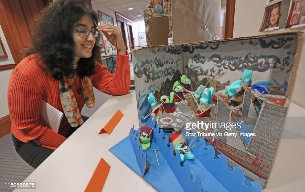 Macalester Assistant History Department Professor Karin Velez looked at the peeps diorama of student Cayenne Kjerland depicting Kublai Khan's...