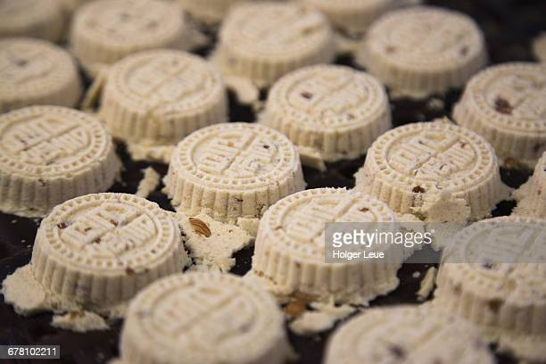 macanese almond cookies baked over heat basket - macao stock pictures, royalty-free photos & images