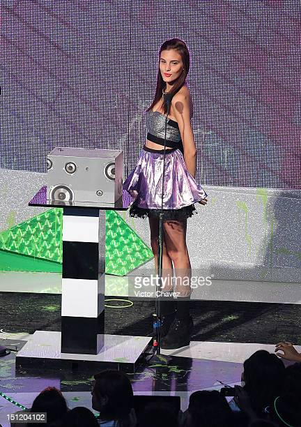 Macarena Achaga of M15 speaks onstage at the Kids Choice Awards Mexico 2012 at Pepsi Center WTC on September 1 2012 in Mexico City Mexico