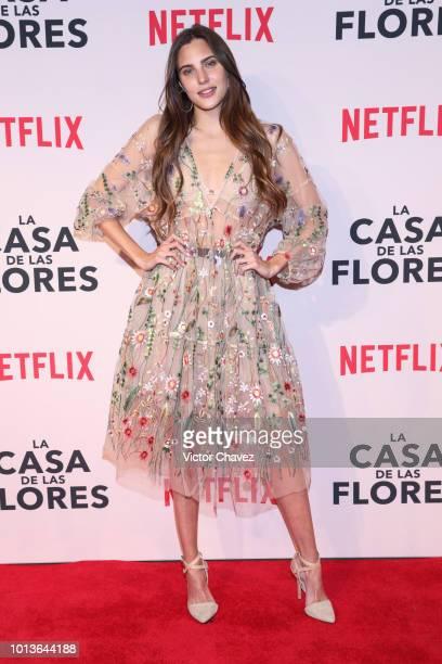 Macarena Achaga poses during the avant premiere of Netflix series La Casa de Las Flores at Cinemex Antara on August 08 2018 in Mexico City Mexico