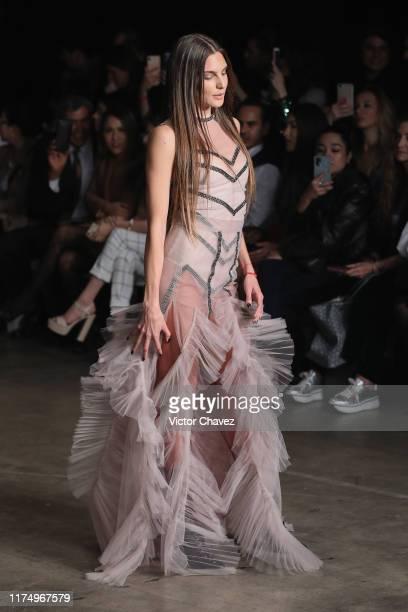 Macarena Achaga walks the runway during the Alexia Ulibarri show as part of the MercedezBenz Fashion Week Mexico Spring/Summer 2020 Day 2 at Fronton...