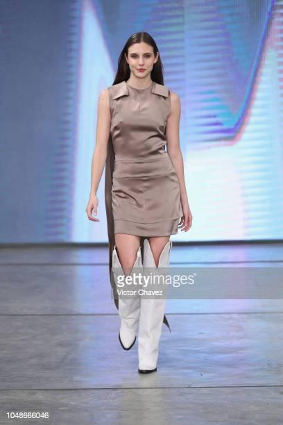 Macarena Achaga walks the runway during the Lorena Saravia fashion show at Mercedes Benz Fashion Week Mexico 2018 at Auditorio Blackberry on October...