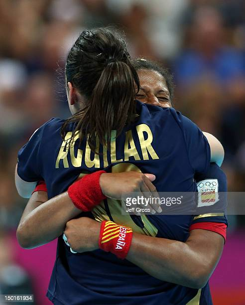Macarena Aguilar Diaz and Marta Mangue Gonzalez of Spain celebrate after defeating South Korea in the Women's Handball Bronze Medal Match on Day 15...