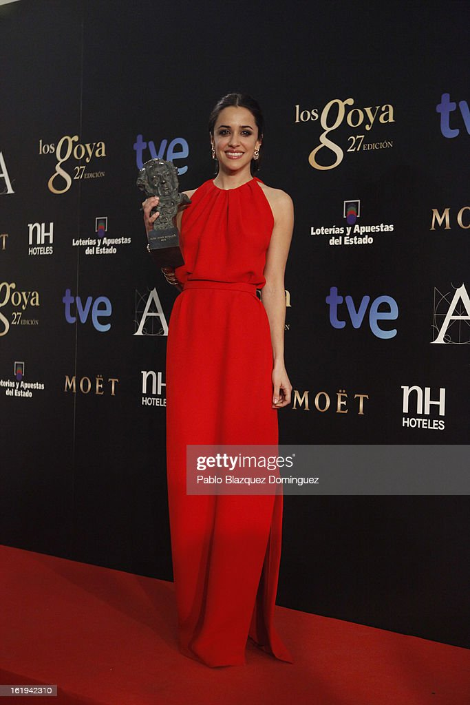 Macarena Garcia holds his award for Best New Actress in the film 'Blancanieves' during the 2013 edition of the 'Goya Cinema Awards' ceremony at Centro de Congresos Principe Felipe on February 17, 2013 in Madrid, Spain.
