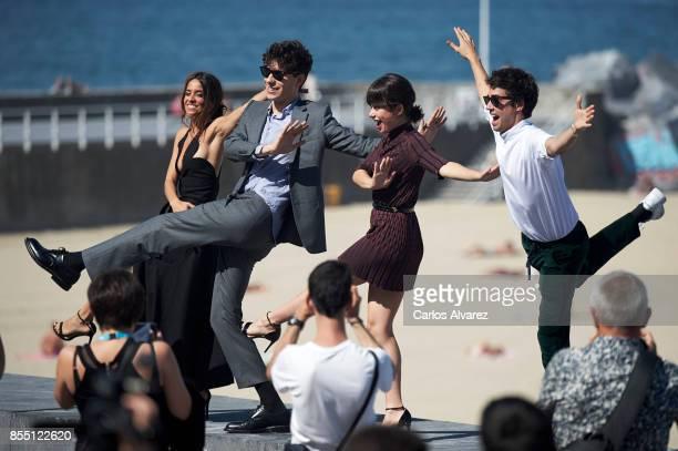 Macarena Garcia Javier Calvo Anna Castillo and Javier Ambrossi attend 'La Llamada' photocall during the 65th San Sebastian International Film...