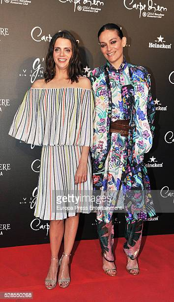 Macarena Gomez and Laura Ponte pose during a photocall for the Flower Power party at Club Carpe Diem on May 5 2016 in Madrid Spain