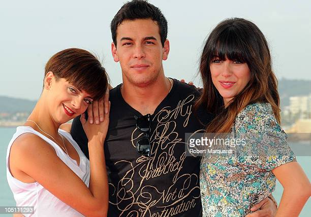 Macarena Gomez Mario Casas and Blanca Suarez pose for their latest film 'Carne de Neon' during the 43rd Sitges Film Festival held at the Hotel Melia...