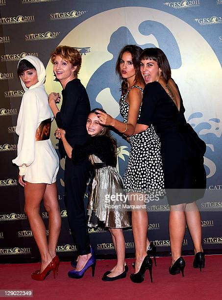 Macarena Gomez Najwa Nimri Miriam Rodriguez Veronica Echegui and Alba Garcian pose on the red carpet for their latest film 'Verbo' during the 44th...