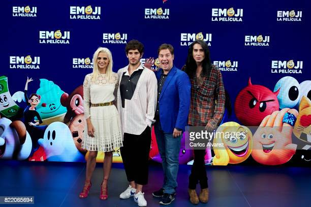 Macarena Gomez Quim Gutierrez Carlos Latre and Mario Vaquerizo attend 'Emoji La Pelicula' photocall at La Casa del Lector on July 25 2017 in Madrid...