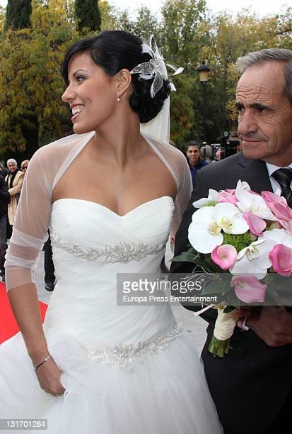 Macarena Pescador and her father arrive at Santo Domingo de Silos church on November 5 2011 in Pinto Spain