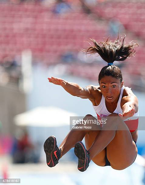 Macarena Reyes of Chile competes in Women's Long Jump final during day seven of the X South American Games Santiago 2014 at Estadio Nacional de...