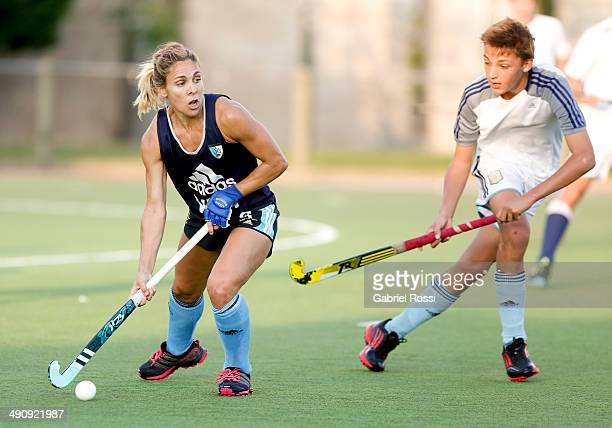Macarena Rodriguez Perez looks on to hits a shot during a training session as part of Argentina Female Hockey Team preparation for Hockey World Cup...