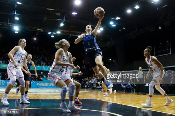 Macarena Rosset of Argentina in action during a match between Argentina and Canada as part of the FIBA Women's AmeriCup Final at Obras Sanitarias...