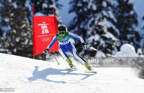 Macarena Simari Birkner of Argentina competes during the Alpine Skiing Ladies Downhill on day 6 of the Vancouver 2010 Winter Olympics at Whistler...