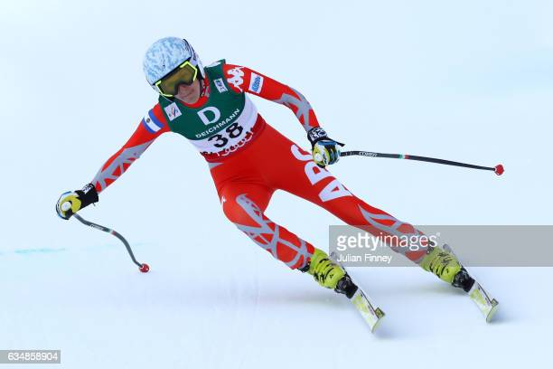 Macarena Simari Birkner of Argentina competes in the Women's Downhill during the FIS Alpine World Ski Championships on February 12 2017 in St Moritz...