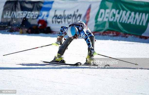 Macarena Simari Birkner of Argentina ends her run during the Ladies' Alpine Combined Slalom run on the Raptor racecourse on Day 8 of the 2015 FIS...