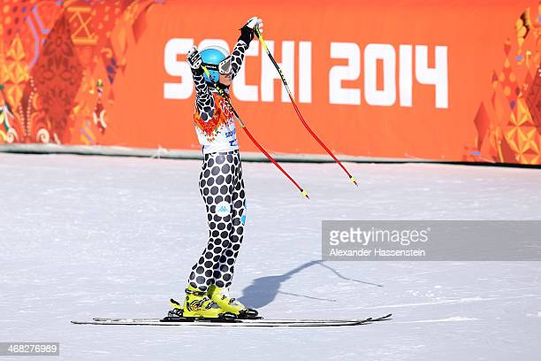 Macarena Simari Birkner of Argentina finihses her run during the Alpine Skiing Women's Super Combined Downhill on day 3 of the Sochi 2014 Winter...