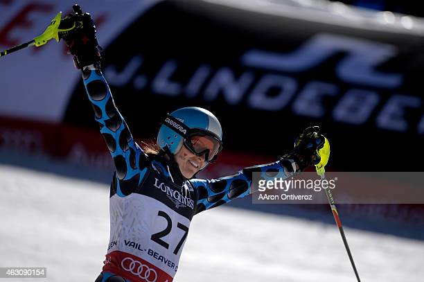 Macarena Simari Birkner of Argentina finishes her slalom run during the ladies' alpine combined final FIS Alpine World Ski Championships 2015 on...