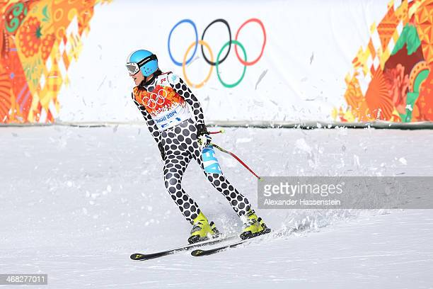 Macarena Simari Birkner of Argentina in action during the Alpine Skiing Women's Super Combined Downhill on day 3 of the Sochi 2014 Winter Olympics at...